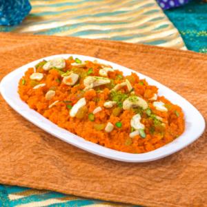 Gajar ka halwa with khoya recipe and its ingredients